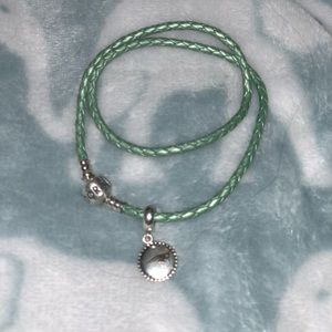 Light green roped pandora bracelet w/ pats charm